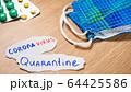 Coronavirus and quarantine inscription on paper 64425586