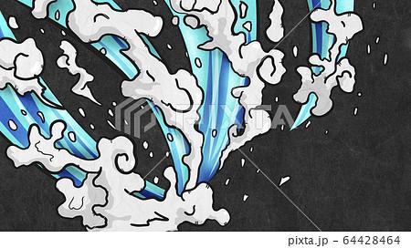 水しぶき-浮世絵-波-エフェクト-水-日本-黒紙 64428464