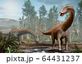 Diplodocus dinosaur scene from the Jurassic era 3D illustration 64431237