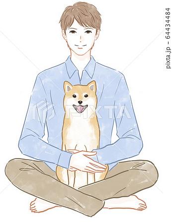男性と犬 64434484