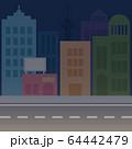 真っ暗な夜の街 64442479