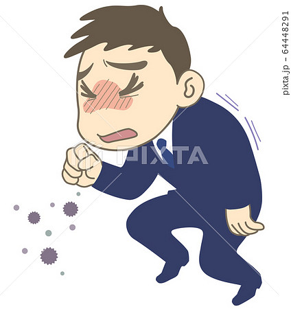 咳 エチケット マナー についてのイラスト 線あり - 単品 64448291