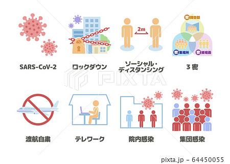 新型コロナウィルス感染症(COVID-19)関連のイラストセット 64450055