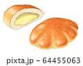 クリームパン パン 手描き 水彩 64455063