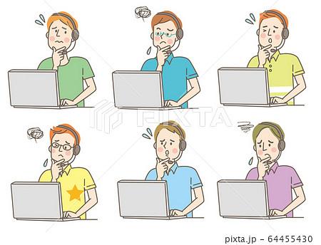 パソコン ヘッドホン 悩む 若い男性 私服 セット 64455430