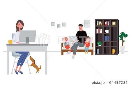 リモートワークをする夫婦 在宅勤務 テレワーク イラスト 64457285