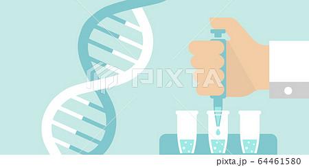 PCR検査・遺伝子検査 バナーイラスト(文字なし) / 新型コロナウイルス , Covid-19 64461580