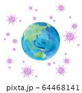 コロナウィルスに囲まれた地球イメージ:日本、アジア、オーストラリア、中国、インドネシア、太平洋 64468141
