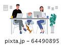 リモートワークをする夫婦 在宅勤務 テレワーク イラスト 64490895