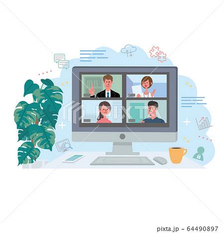 リモートワーク   オンライン会議 在宅勤務 テレワーク イラスト 64490897