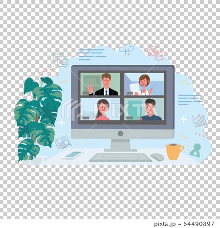 Remote work online meeting 64490897