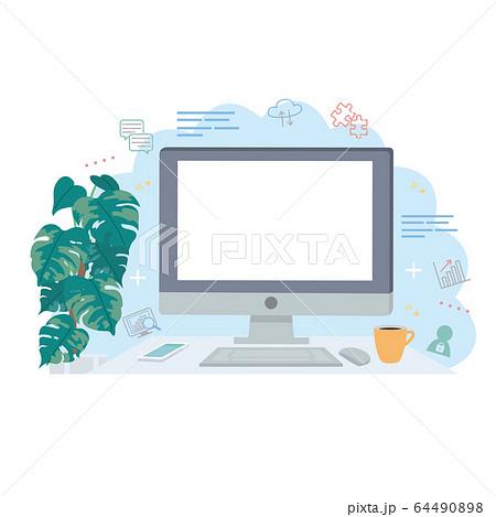 パソコン クラウド イメージ イラスト 64490898