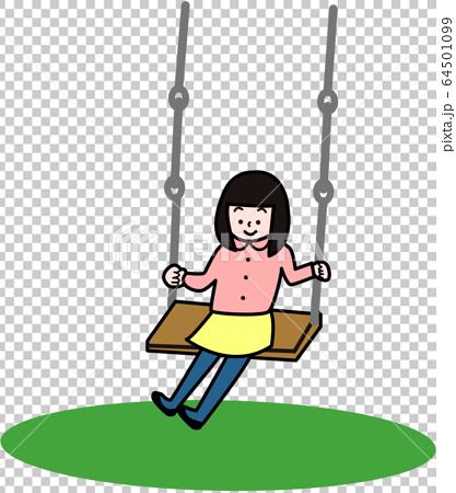 一個女孩騎著鞦韆 64501099
