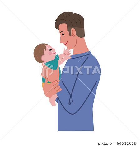 赤ちゃんを抱っこするお父さん イラスト 64511059