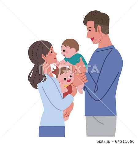 赤ちゃんを抱っこする お母さん お父さん イラスト 64511060