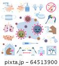 コロナ、感染症、ウイルス、予防、手洗い、マスク、イラスト、covid-19、ベクター、セット 64513900