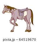 乗馬の手描き風イラスト 鞍あり 64519670
