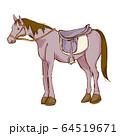 乗馬の手描き風イラスト 鞍あり 64519671