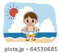 海で浮き輪をもつ水着の男の子 64530685