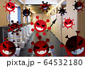 新型コロナウイルスが公衆トイレ内で蔓延しているイメージ。(サービスエリアなど、混雑しやすい密集空間) 64532180