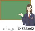 黒板 学校 発表 説明 学生 解決方法を提案する女子高生 フレーム 64533062