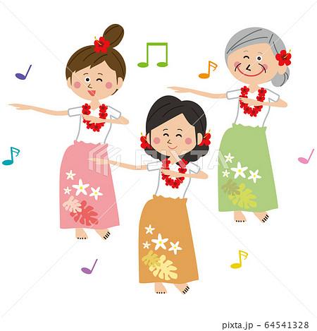 ポップでアクティブな女性たち フラダンスを踊る  64541328