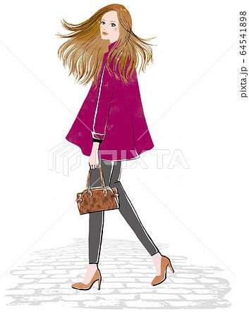 振り向いて風になびく髪の働く女性 64541898