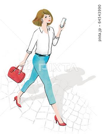 スマホ片手に見上げる女性右向きショート 64543990