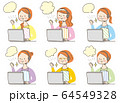 パソコン ガッツポーズ 若い女性 主婦 表情 セット 64549328