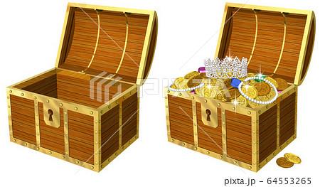 開けたら金貨の溢れる宝箱のリアルイラスト 64553265