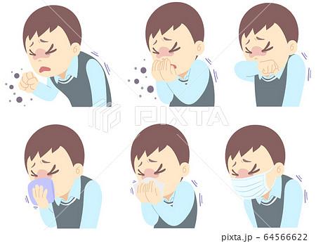 咳 エチケット マナー についてのイラスト - セット 64566622