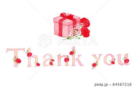 手描き水彩 母の日 プレゼントBOX thank you メッセージイラスト 64567216