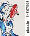 鯉の滝登り-錦鯉-水飛沫-水-躍動感 64567596
