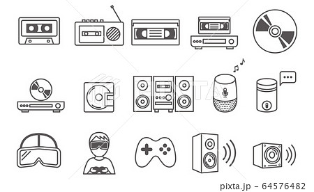 ラインアイコン 音楽・ゲームデバイス 64576482