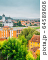 The Holy Trinity Orthodox Cathedral and Sighisoara old town panorama view in Romania 64589606