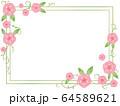 ピンクの花と葉のフレーム 64589621
