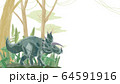 トリケラトプスと森林背景フレーム 64591916