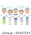 ポップなシニアの男女 合唱 64597234