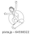 スポーツ 女性 スケートボード 64598322