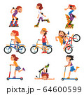 Boys and Girls Riding Kick Scooter, Bicycle, Rollerblades, Summer Outdoor Activities Cartoon Vector Illustration 64600599