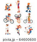 Boys and Girls Riding Kick Scooter Set, Bicycle, Rollerblades, Eco Transport for Children, Summer Outdoor Activities Cartoon Vector Illustration 64600600