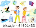 海外旅行に行くカップルのイラスト 64601433