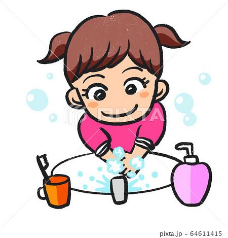 手洗いする女の子 64611415