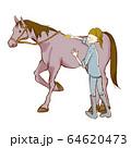 乗馬の手描き風イラスト 手入れ 64620473