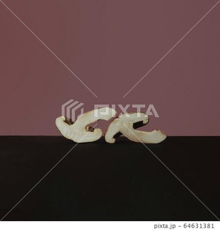 しいたけとモーブピンクと黒のツートンカラーの写真 64631381