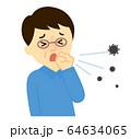 飛沫感染男性咳をする 64634065