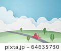 ペーパークラフト-空-雲-車-大地 64635730