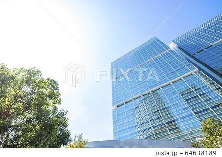 高層ビルを見上げるオフィス街の風景 64638189