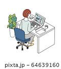 オンラインセミナー 動画配信をみる女性 イラスト 64639160