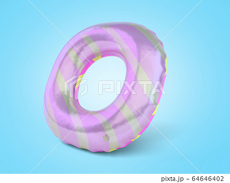 Color rubber swimming circle 3d render on blue 64646402